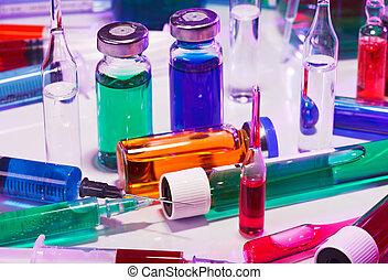 błękitny, życie, wyposażenie, purpurowy, medyczny, szkło, laboratorium, wciąż