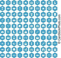 błękitny, 100, jazda konna, komplet, ikony