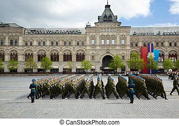 błękitny, 2011, skwer, 9, marsze, rosja, może, nazwa, moskwa, -, dzień, airborne, moskwa, 9:, zwycięstwo, russia., forces., baskijki, sub-unit, czerwony, celebrowanie