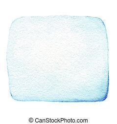 błękitny, abstrakcyjny, akwarela, miejscowość atramentu, odizolowany, na białym, tło., ręka, pociągnięty, kolor, bryzgając