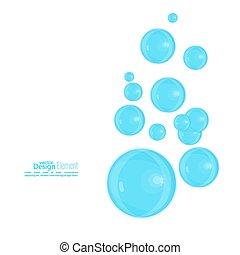 błękitny, abstrakcyjny, bańki, tło, mydło