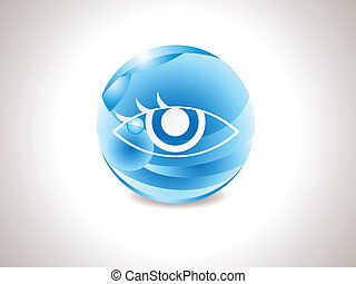 błękitny, abstrakcyjny, połyskujący, widzenie, ikona