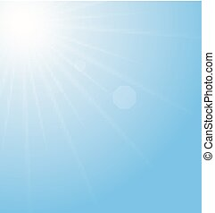 błękitny, abstrakcyjny, sunburst, tło