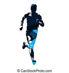 błękitny, abstrakcyjny, sylwetka, wyścigi, wektor, przód, człowiek, prospekt