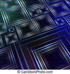 błękitny, abstrakcyjny, wielobarwny, światła, zielone tło, kwadraty, lustrzany