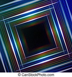 błękitny, abstrakcyjny, wielobarwny, tło, kwadraty, lustrzany