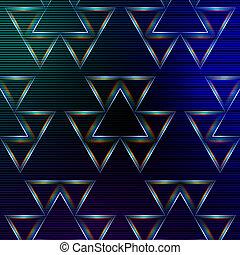 błękitny, abstrakcyjny, wielobarwny, tło, triangle, lustrzany