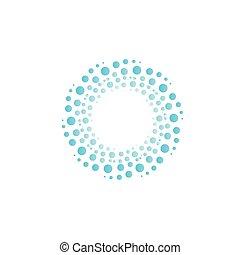 błękitny, abstrakcyjny, wir, woda, koła, drops., wektor, bańki, koło, logo.