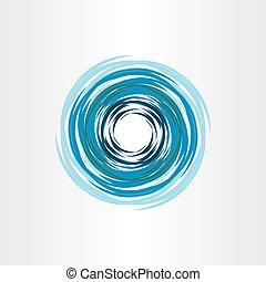 błękitny, abstrakcyjny, woda, wir, tło, ikona