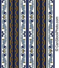 błękitny, adamaszek, próbka, ułożyć, krzywa, spirala, seamless, wektor, tło, krzyż, kreska