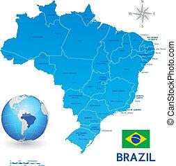 błękitny, administracyjny, brazylia, wektor, mapa