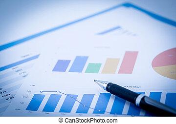 błękitny akcent, handlowy, wykresy, wykresy, stół, finansowy