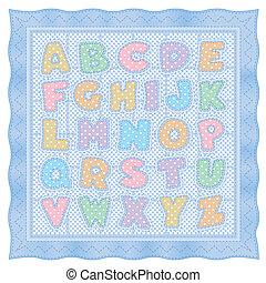 błękitny, alfabet, kołdra, pastel