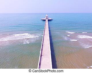 błękitny, antena, molo, lekki, morze, dom, plaża, prospekt