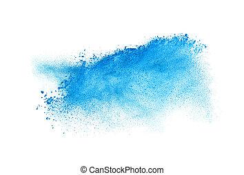 błękitny, backgroun, wybuch, odizolowany, marznąć, ruch, kurz, biały