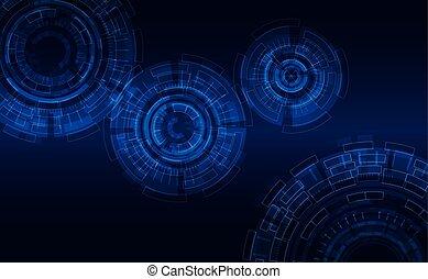 błękitny, background:, elements., abstrakcyjny, ciemne tło, jarzący się, wektor, tech, cześć, cykle, style.