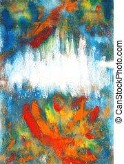 błękitny, background:, malować, abstrakcyjny, ręka, wzory, czerwony, kwiatowy, pociągnięty, zasłona