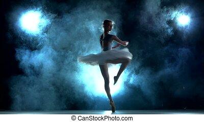 błękitny, balerina, trening
