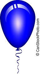 błękitny balon, wektor, ilustracja