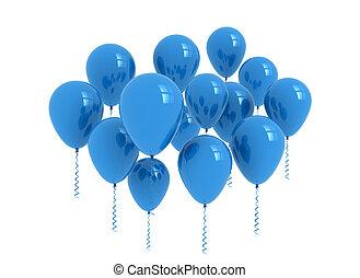 błękitny, balony, biały, -, odizolowany