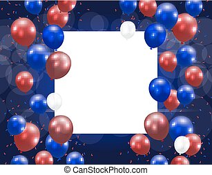błękitny, balony, na, stylizowany, tło., miejsce, ilustracja, ph, inscription., colors.