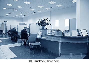 błękitny, bank, biuro