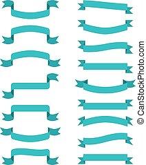 błękitny, banners., wektor, wstążki, woluta, wavin