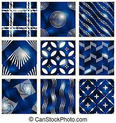 błękitny, batik, komplet, wzory