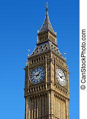 błękitny, ben, sky., cielna, zegar, westminster, londyn, wieża