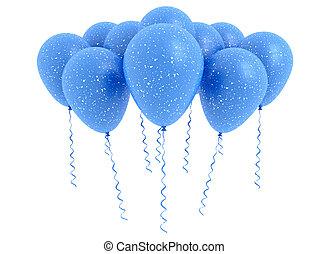 błękitny, biały, balony, odizolowany