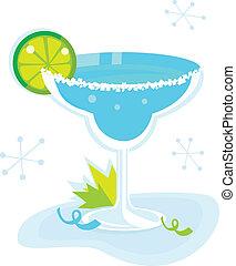 błękitny, biały, cocktail, margarita