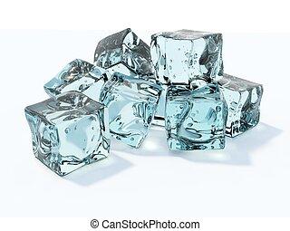 błękitny, biały, kostki, odizolowany, lód