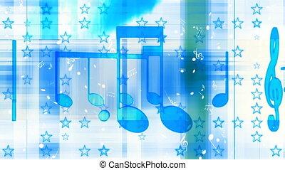 błękitny, biały, muzyka, pętla