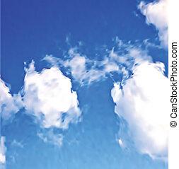 błękitny, biały, wektor, chmury, sky.