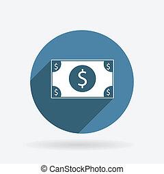 błękitny, bill., dolar, koło, shadow., ikona
