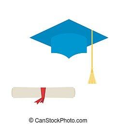 błękitny, biret absolutorium, i, dyplom, woluta, odizolowany, na białym, tło.