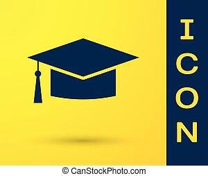 błękitny, biret absolutorium, ikona, odizolowany, na, żółty, tło., skala, kapelusz, z, chwast, icon., wektor, ilustracja
