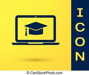błękitny, biret absolutorium, na, ekran, laptop, ikona, odizolowany, na, żółty, tło., online oświata, albo, e-oświata, concept., wektor, ilustracja