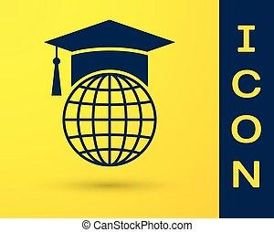 błękitny, biret absolutorium, na, kula, ikona, odizolowany, na, żółty, tło., świat, wykształcenie, symbol., online oświata, albo, e-oświata, concept., wektor, ilustracja