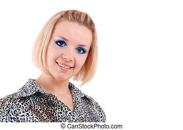 błękitny, blondynka, oczy