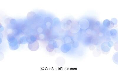 błękitny, bokeh, koła, przelotny, w, seamless, tło, ożywienie, na, white., looped, błękitny, zamazany, zatracony, particles., 4k, ultra, hd, 3840x2160