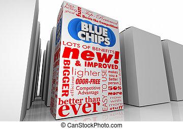 błękitny boks, produkt, górny, 3d, ilustracja, wybór, priorities, nowy, unikalny, drzazgi, cele