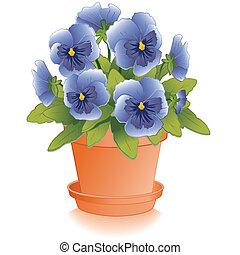błękitny, bratek, kwiaty, glina, doniczka