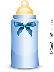 błękitny, butelka niemowlęcia, łuk