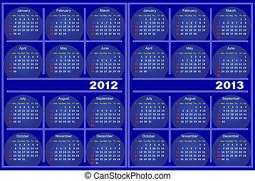 błękitny, calendar.