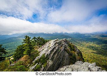błękitny, carolina., grzbiet, skalisty, odkrywka, dziadek, góry, północ, góra, prospekt