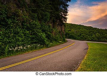 błękitny, carolina., północ, grzbiet, aleja, zachód słońca