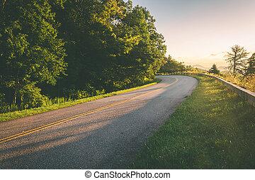 błękitny, carolina., północ, wschód słońca, grzbiet, aleja