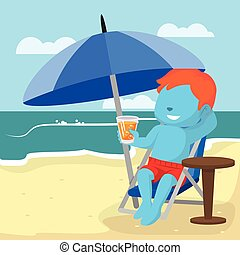 błękitny, chłopiec, plaża, odprężając