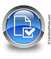 błękitny, checklist, guzik, 2, połyskujący, okrągły, ikona